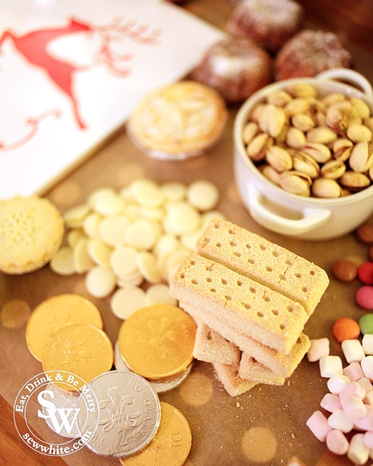 chocolate coins and shortbread