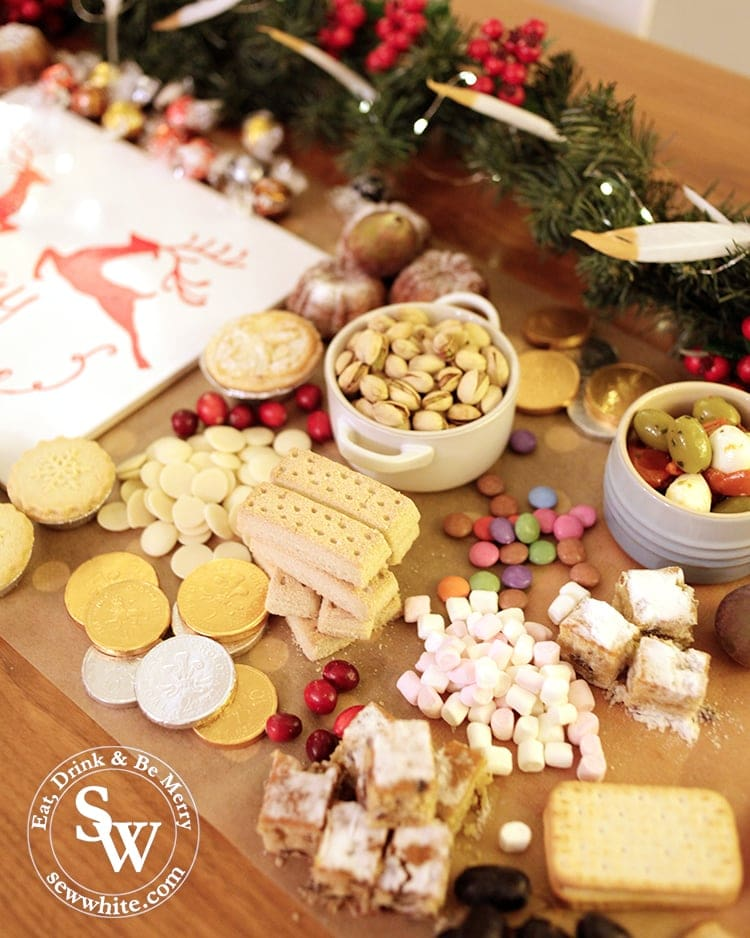 Beautiful cakes, mince pies, shortbread, stollen and nibbles on the Christmas graze table