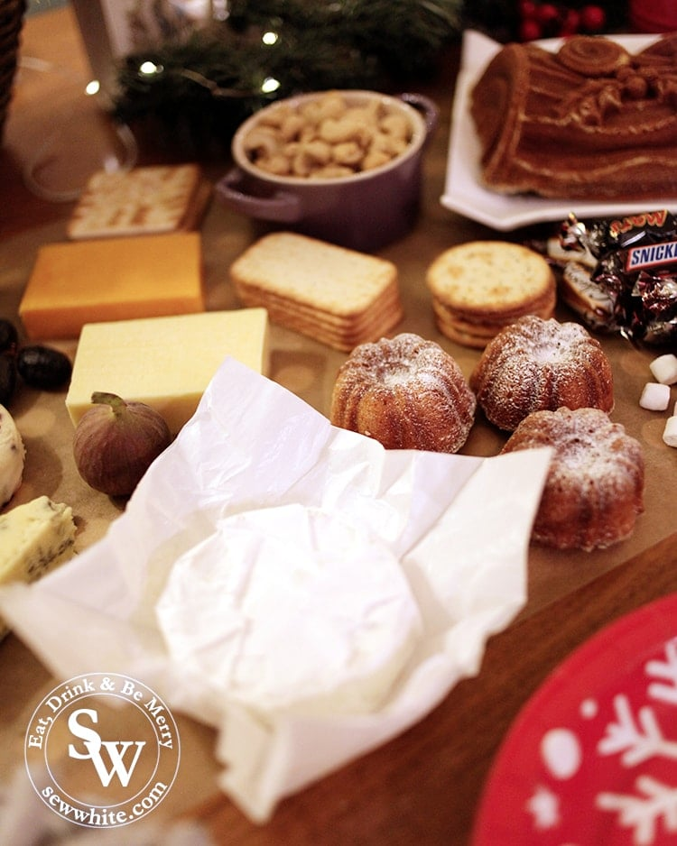 selection of cheeses on the Christmas graze table