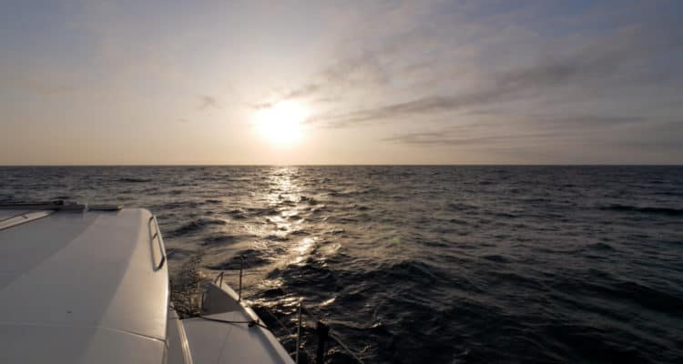 Sailing with a bronze sunset leaving Avalon, Catalina Island.