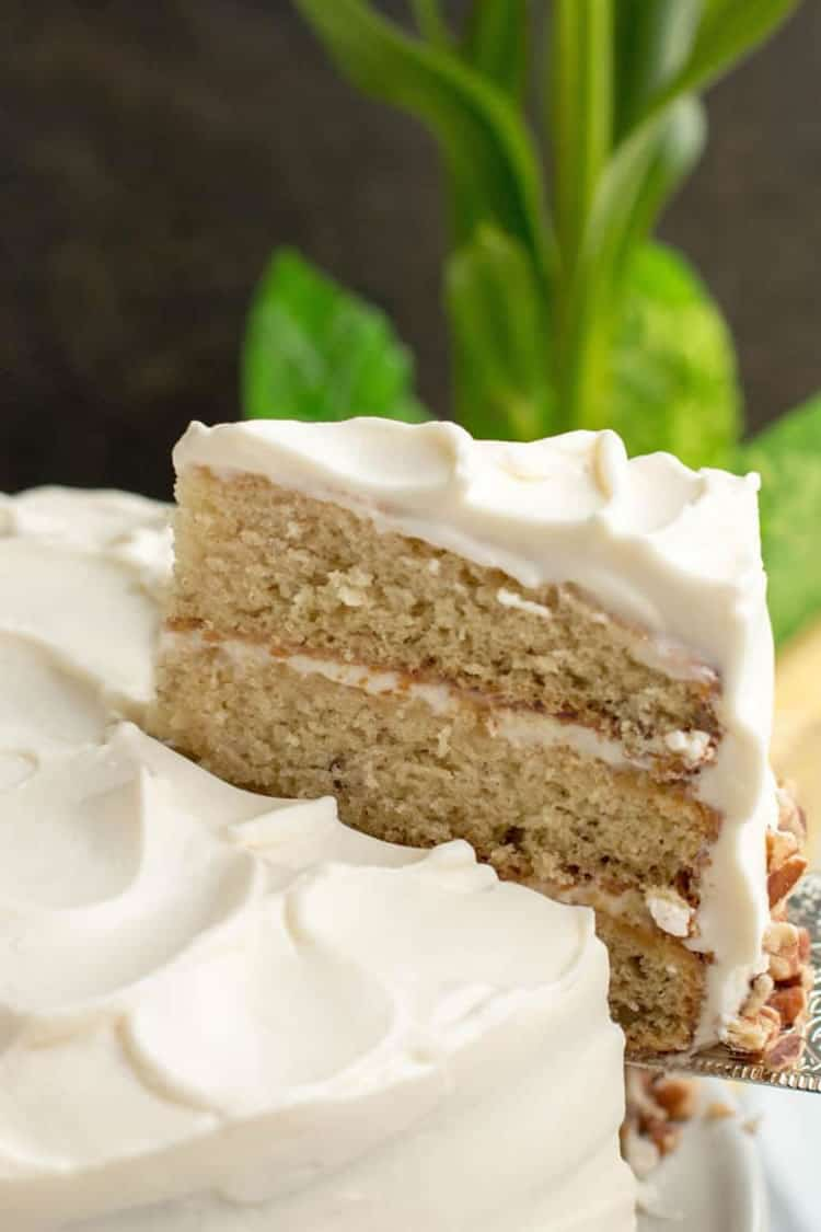 Italian Cream Cake. This slightly lightened up version with less eggs, less coconut, less nuts and my favorite frosting makes one insanely delicious cake!