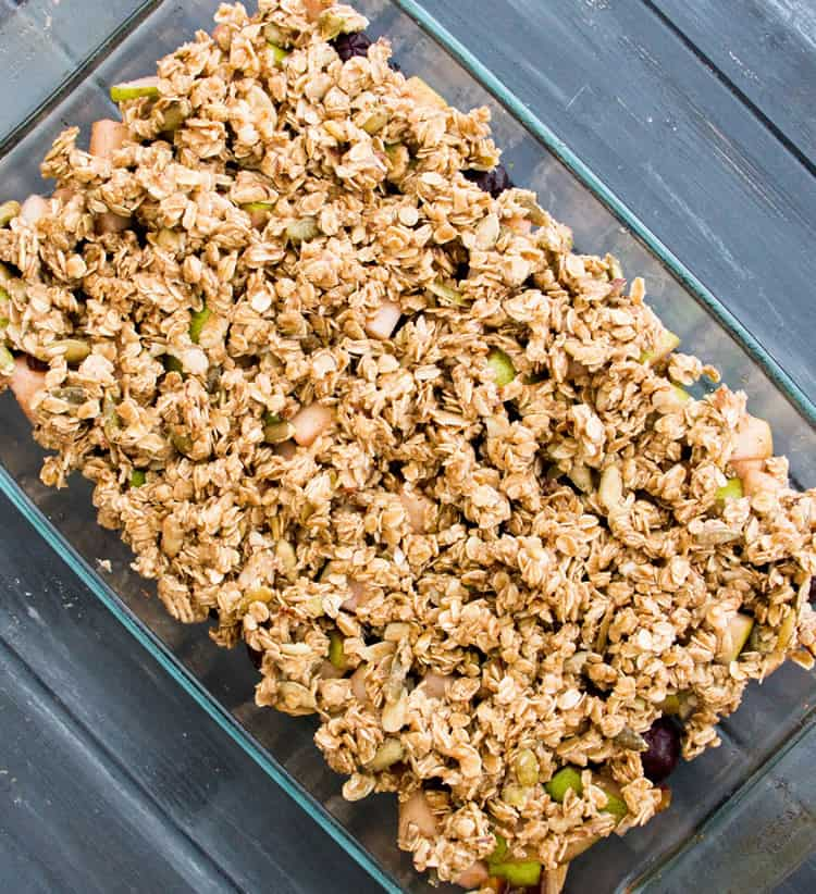 Healthy Winter Fruit Crisp. Great choice for breakfast or dessert with no refined sugars, lots of whole grain and protein, coconut oil and olive oil, and ingredients that are nutrient packed.