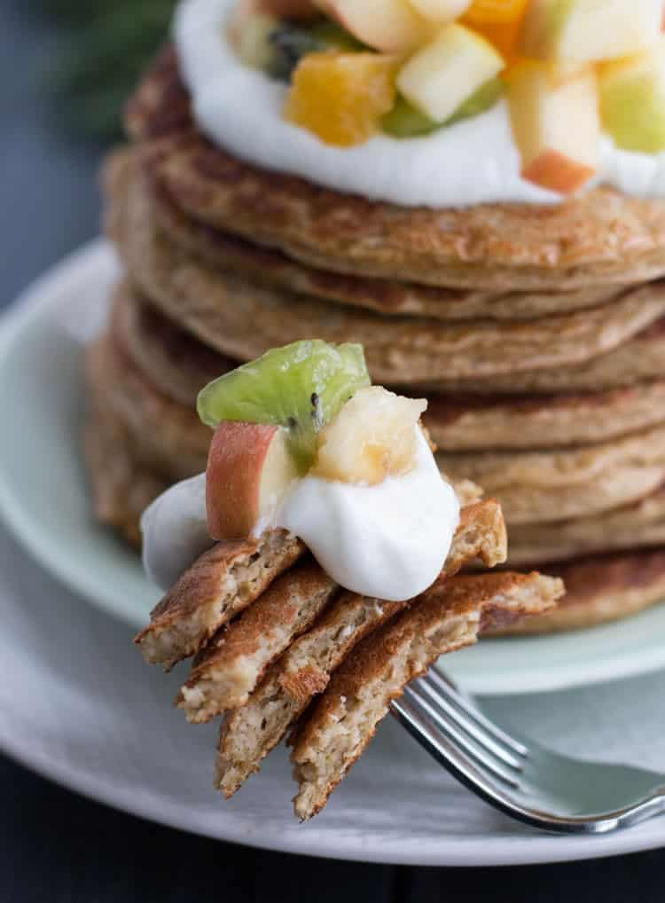 Oatmeal Cottage Cheese Protein Pancakes. Thin, yet hearty, moist and tender with a satisfying chew, like a hearty oatmeal crepe. The pancakes are made in the food processor and contain no protein powder. A delicious protein and fiber rich breakfast idea!