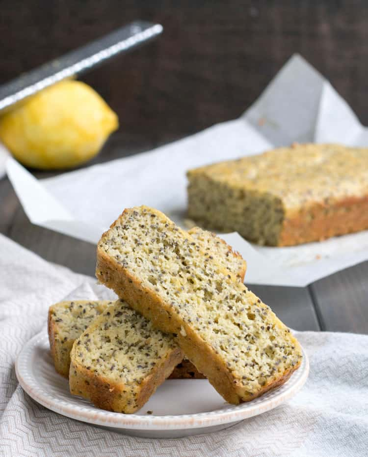 Lemon Almond Chia Bread. A savory and satisfying quick bread that's low carb and protein rich. It's fluffy, nutty and delicious. Great for breakfast! Perfect addition to soup or salad!