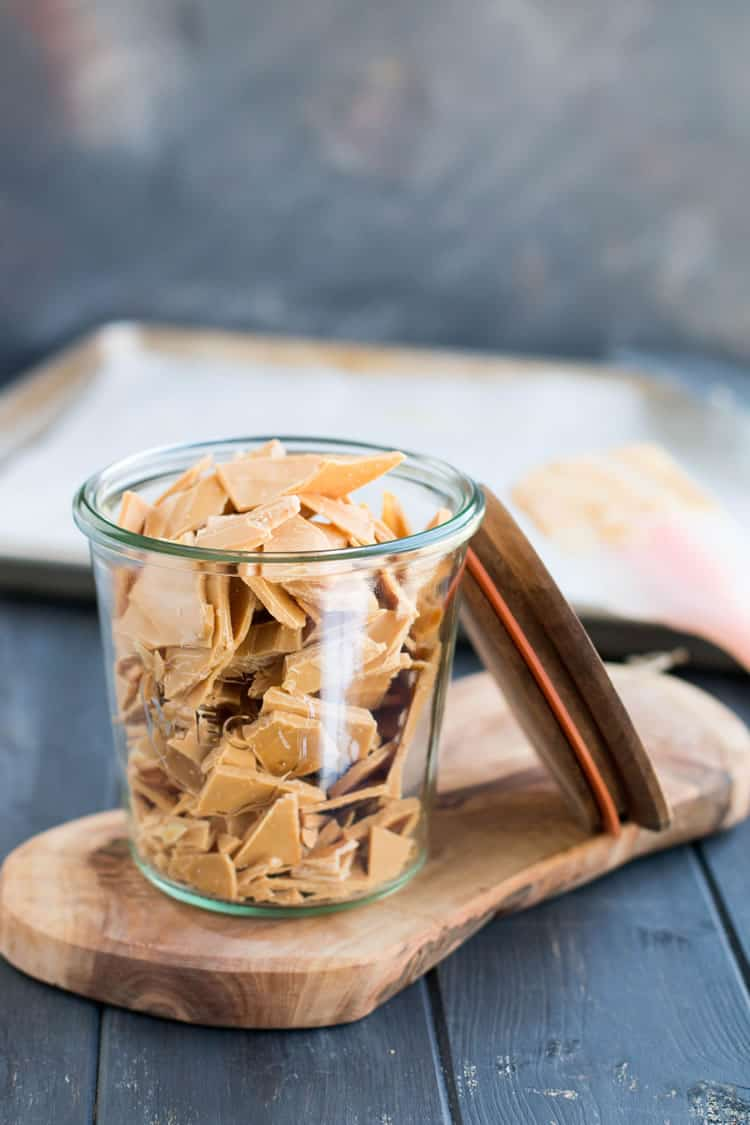 Caramelized White Chocolate in pieces in a jar from themerchantbaker.com