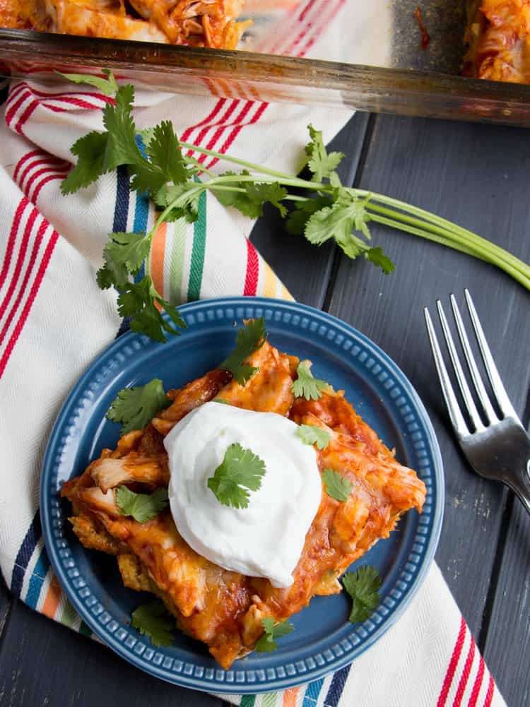 Easy Chicken Tamale Casserole. A layer of moist, savory cornbread is topped with chicken, enchilada sauce and cheese. Makes an easy weeknight meal or festive addition to your Cinco de Mayo celebration.