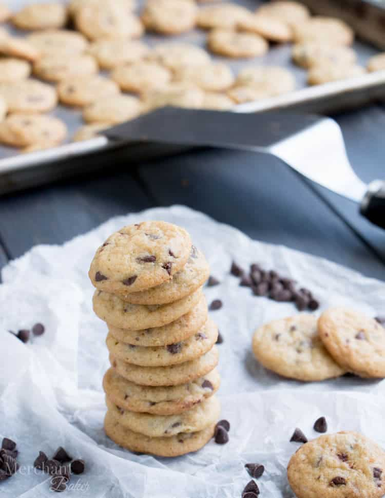 One Bite Mini Chocolate Chip Cookies have slightly crispy edges and soft, chewy centers. One batch makes a bunch of teeny, tiny cookies, chock full of chocolate chips.