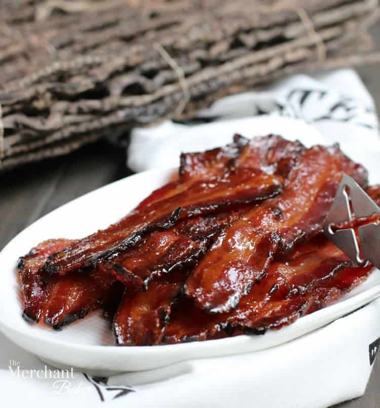 Brown Sugar Maple Glazed Bacon on a plate from themerchantbaker.com