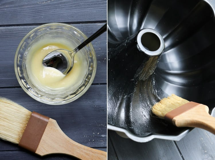 Brushing a bundt pan with butter and flour