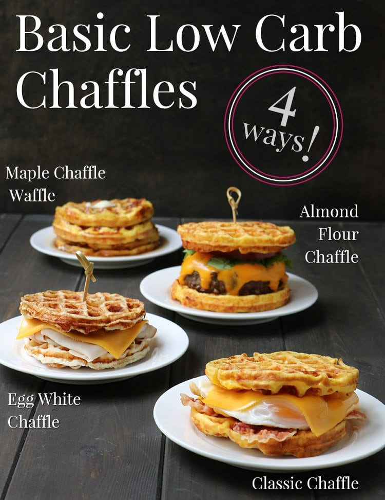 4 Basic Chaffle Recipes. Side photo of four different Chaffles with titles by themerchantbaker.com