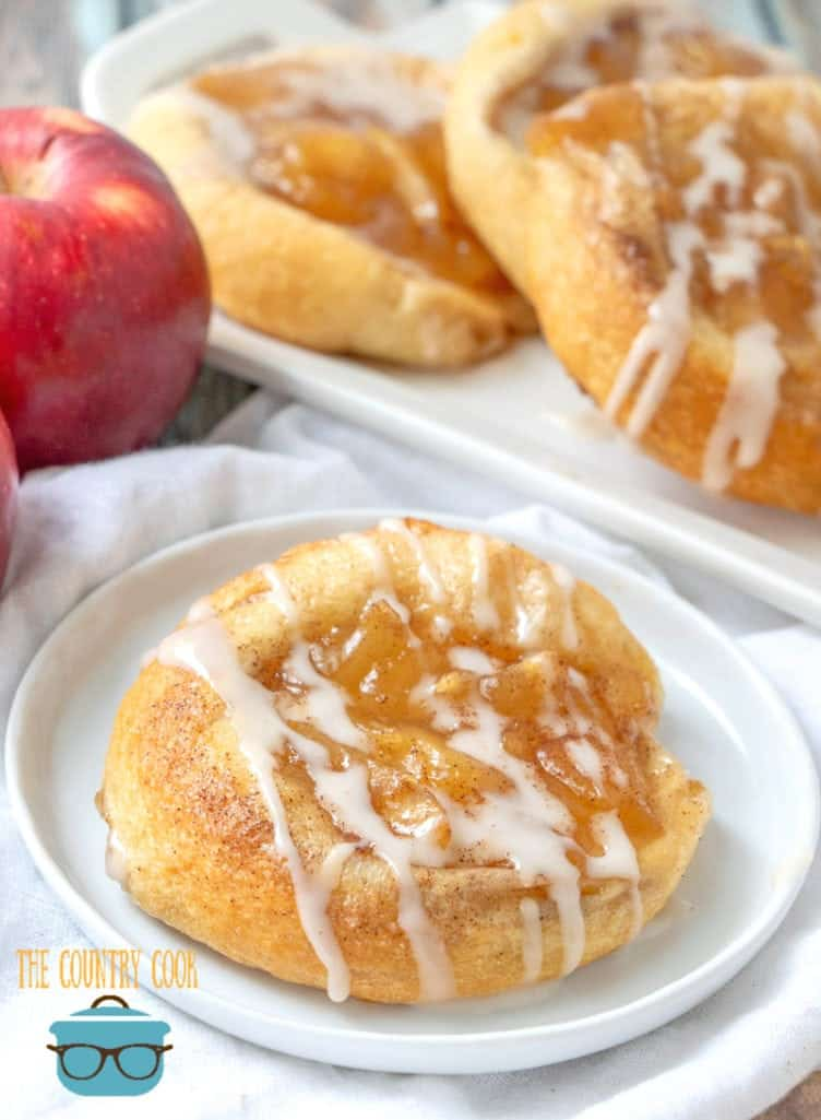 Crescent Roll Apple Danish on a white plate