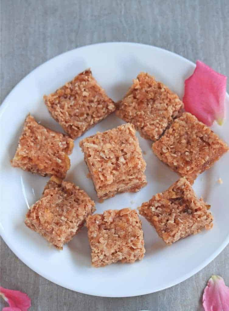 Coconut Gulkand Burfi | Coconut and Rose Petal Preserve Fudge