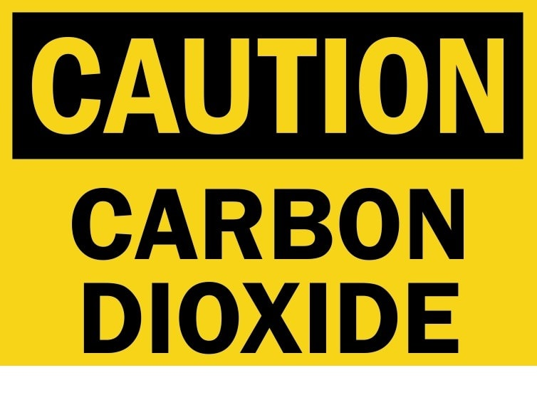 Carbon Dioxide Caution Sign for post mix drinks system