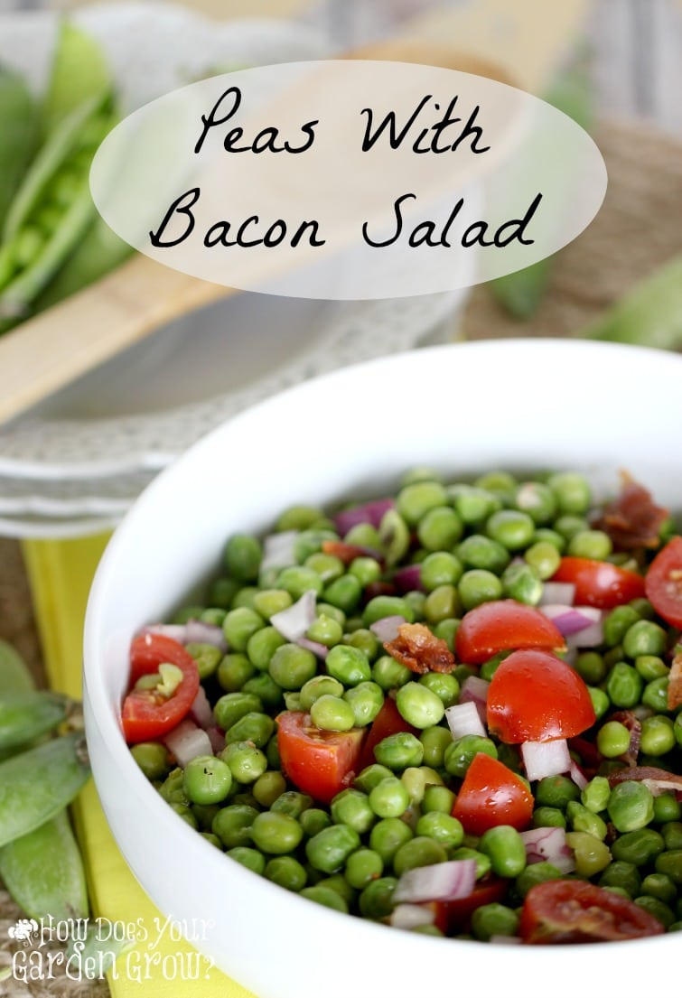 Peas With Bacon Salad is the perfect side salad recipe. Made with fresh sweet peas, this recipe is perfect for any season!