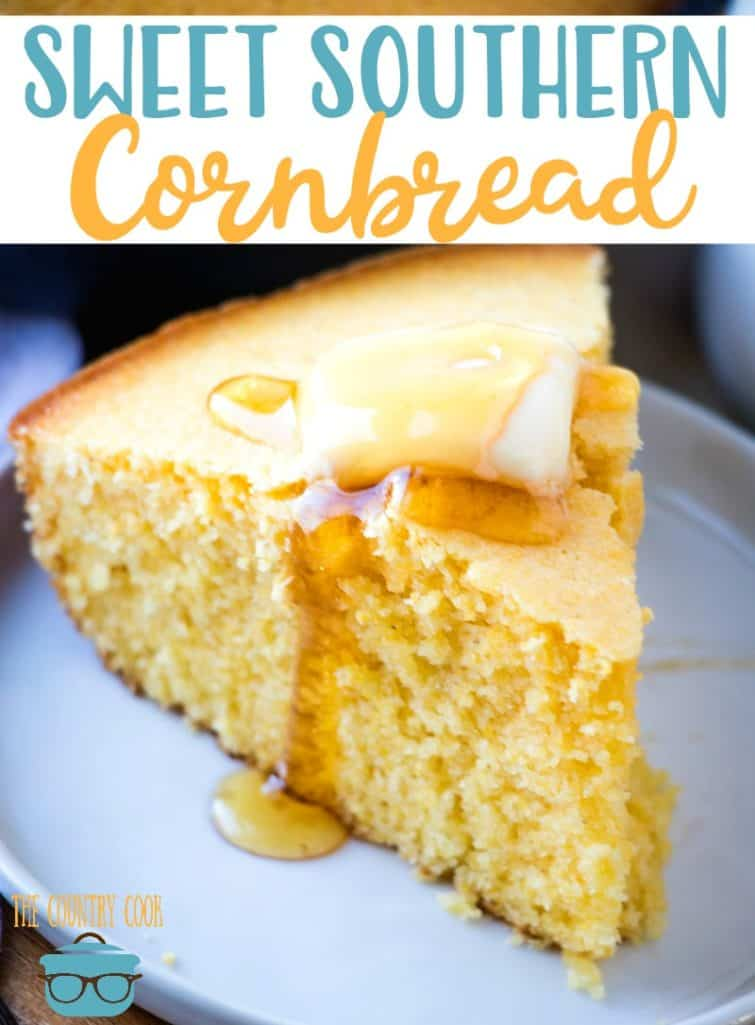 Sweet Southern Cornbread (Corn Cake) recipe from The Country Cook