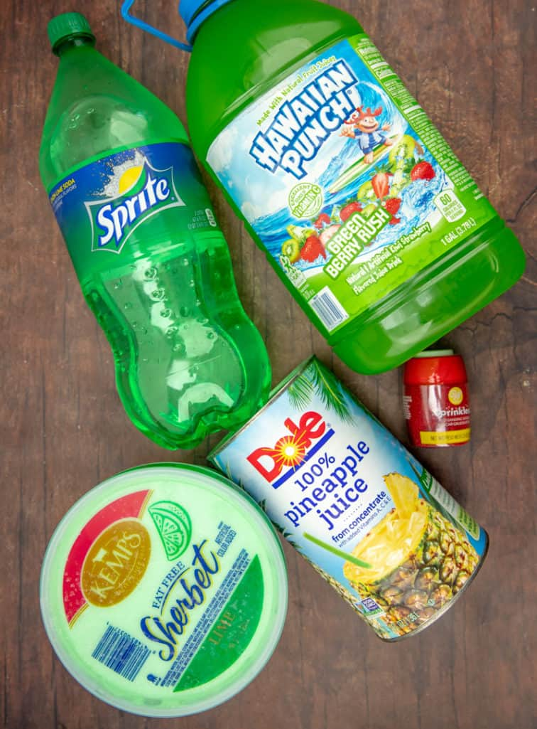 lime sherbet, green hawaiian punch, pineapple juice, sprite, red sugar