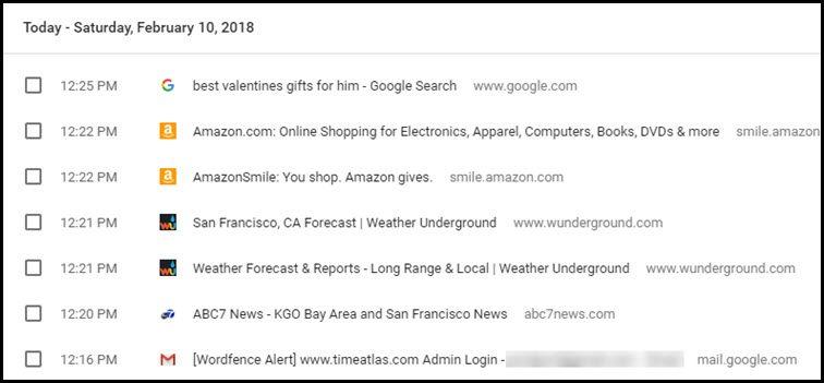 Chrome web history examples.