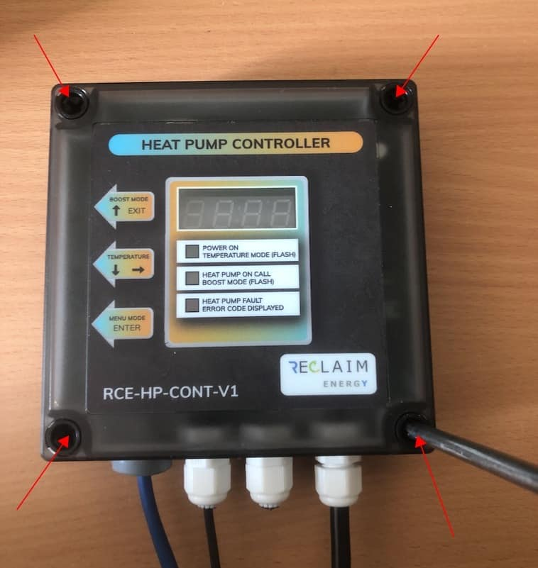 Remove the cover on the Reclaim Energy heat pump controller