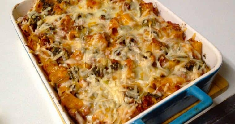 Baked Pasta with Pesto, Cheese and Meat Sauce