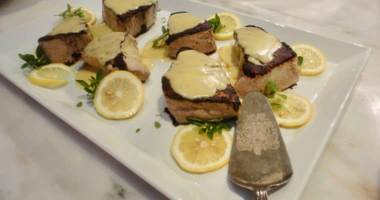 A salute to Anna Pump and her recipe for Grilled Fresh Tuna Steaks with Lemon Sauce