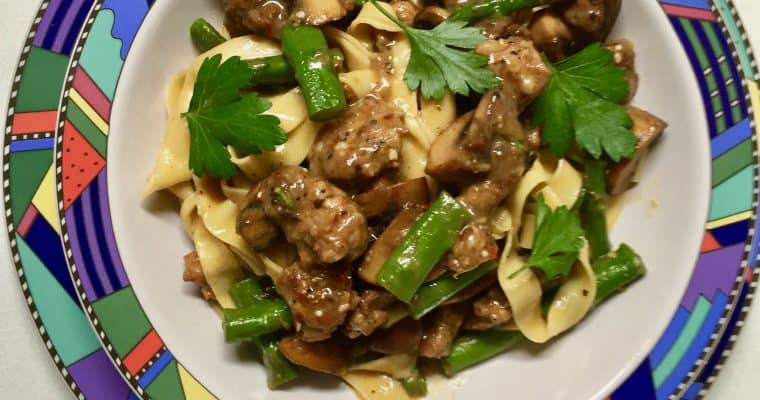 Fresh Fettucine with Sausage, Asparagus and Mushrooms
