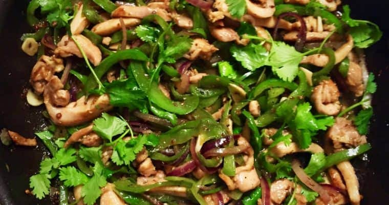 Stir-Fried Chicken, Green Peppers and Cilantro with Xian Province flavors Of Cumin and Coriander