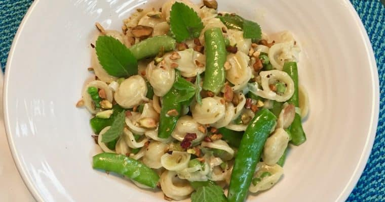 Orecchiette with Buttermilk, Peas and Pistachios from Bon Appetit
