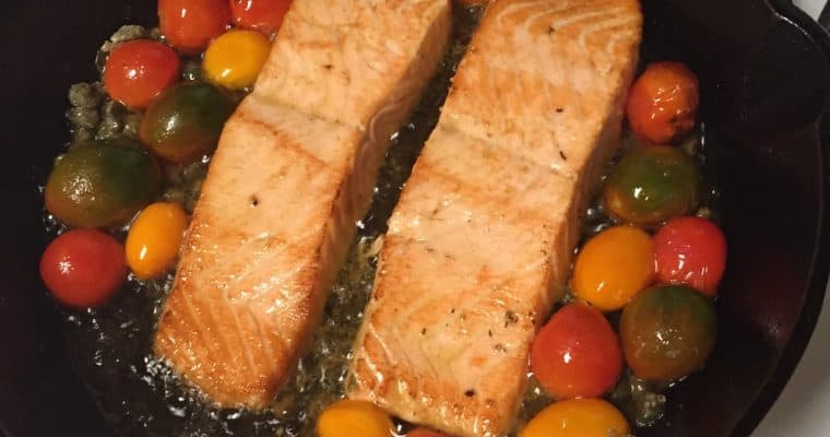 Salmon Filets with Cherry Tomatoes and Capers