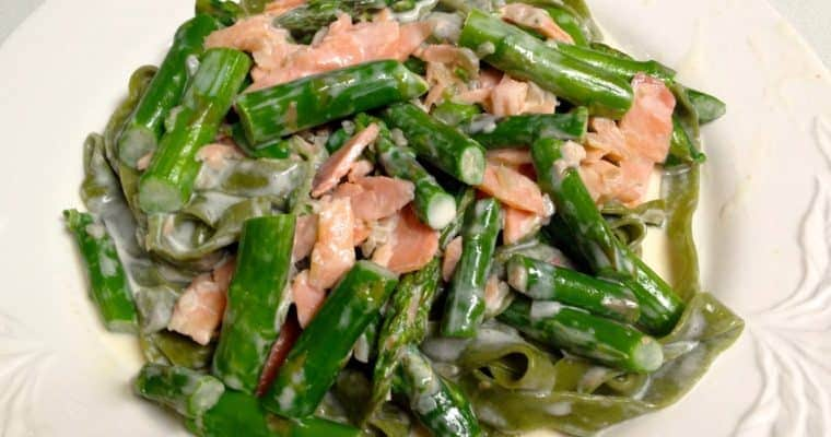 Florence Fabricant's Fettucine with Asparagus and Smoked Salmon