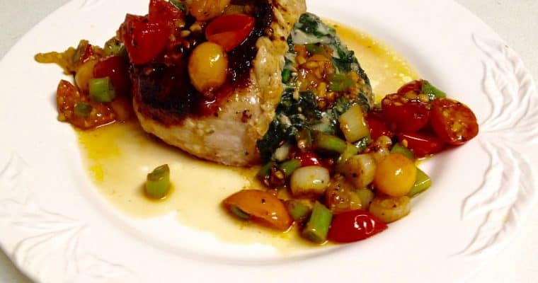 Jacques Pépin's Superb recipe for Spinach and Gruyère Stuffed Pork Chops