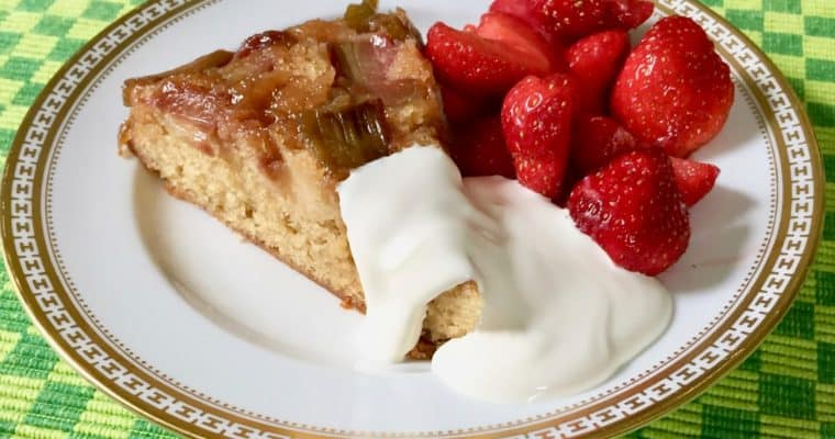 Dorie Greenspan's Rhubarb Upside-Down Brown Sugar Cake with Fresh Strawberries and Crème Fraiche