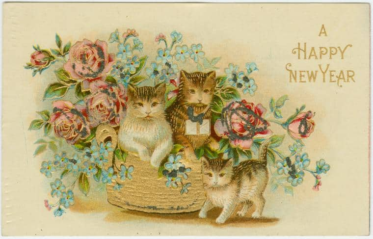 A happy New Year vintage postcard featuring four cats with roses.  Via: The Miriam and Ira D. Wallach Division of Art, Prints and Photographs: Picture Collection, NYPL.