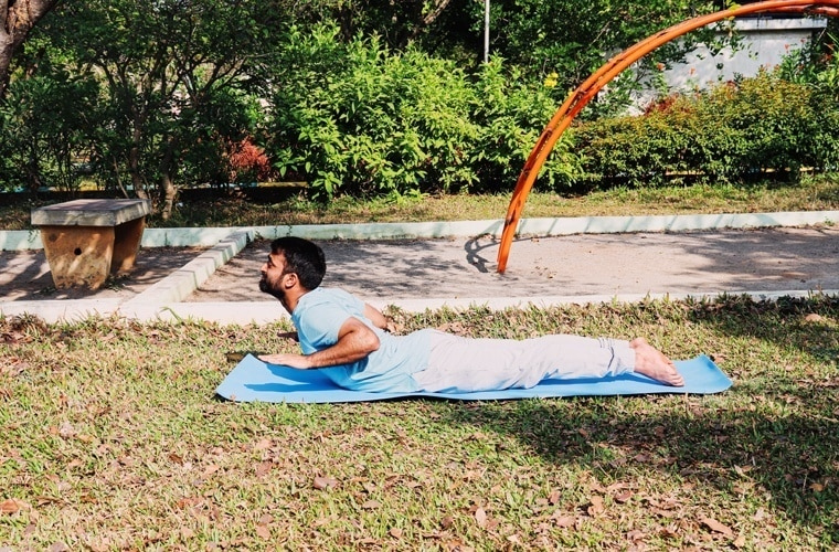 This is another Variation of Bhujangasana where you take the weight off of your hands.