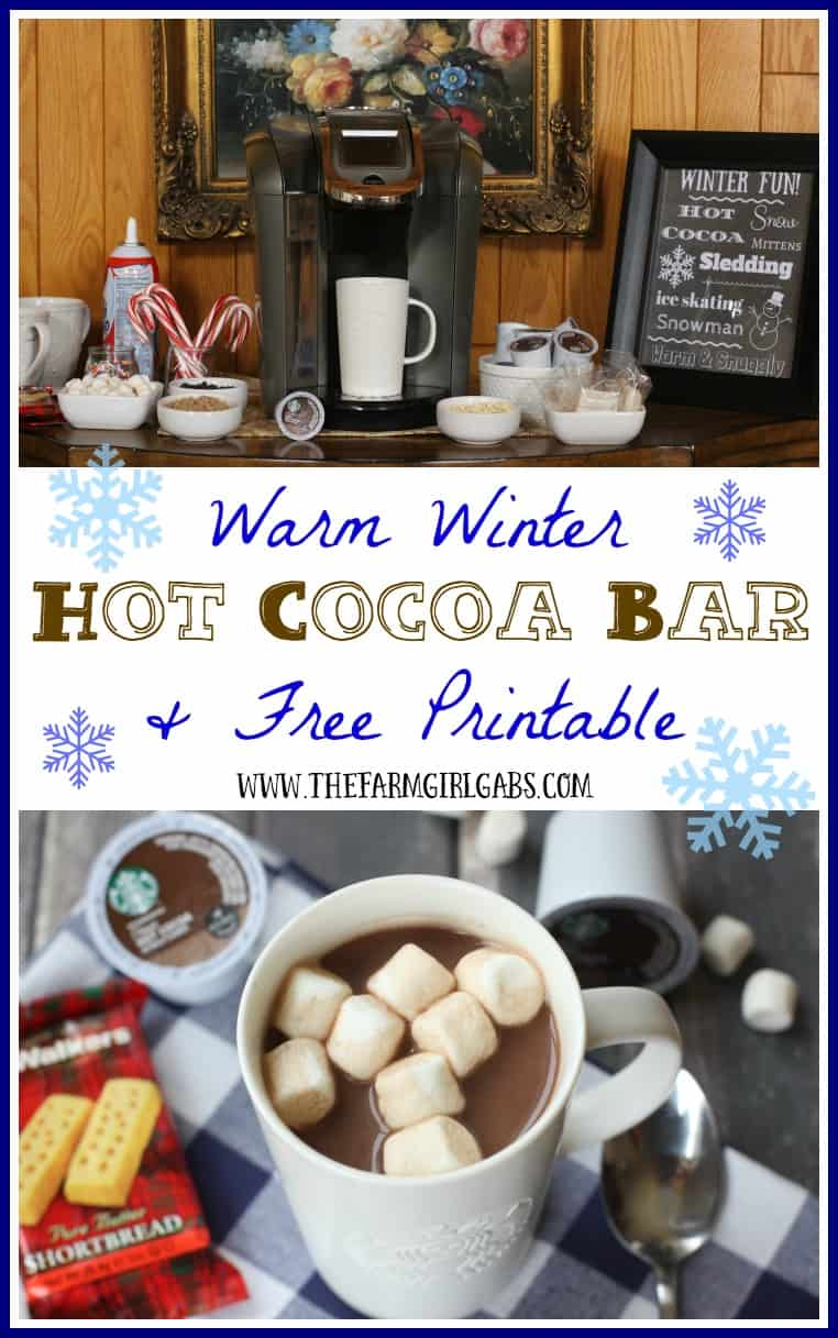 Warm up during winter with the fun hot cocoa bar idea featuring Starbucks® Hot Cocoa K-Cup® pods. You can also download a free winter printable that you can frame. Ad #KCup #HotCocoa
