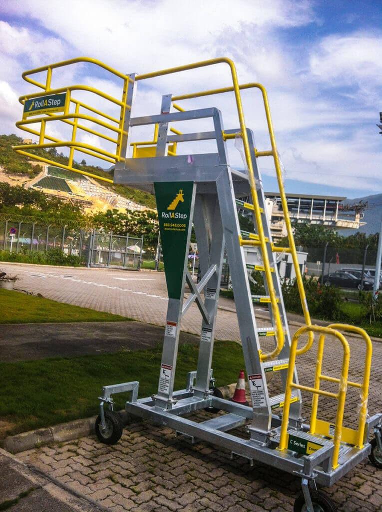 Rolling work platform outdoors at Hong Kong airport