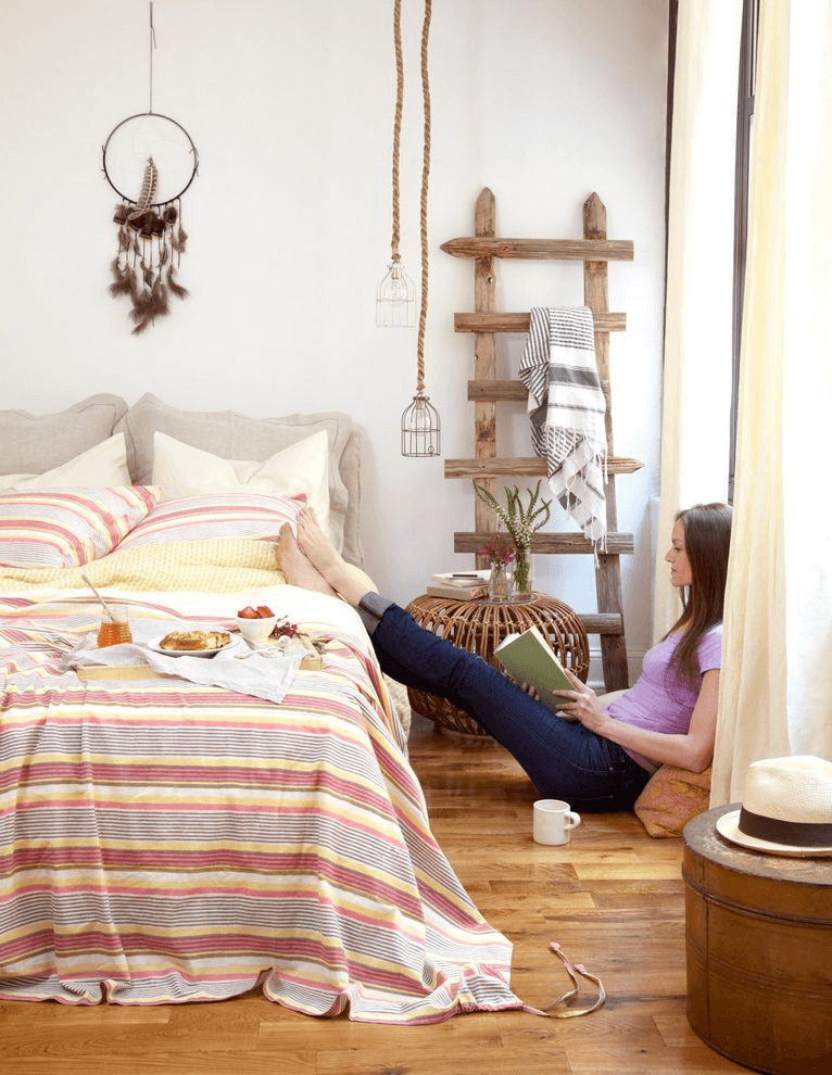 Bohemian bedroom ladder decor ideas
