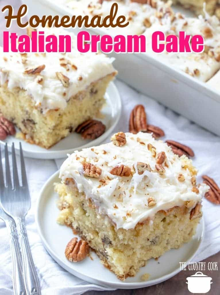 Homemade Italian Cream with Butter Cream Cheese Frosting recipe from The Country Cook #homemade #cake #cakes #fromscratch #scratchmade #dessert #desserts #TheCountryCook #frosting #thebest #moist
