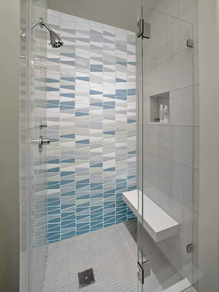 bathroom idea with Triangular Shades of Blue