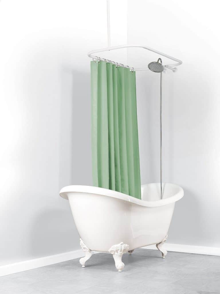Zenna Home 34941WW, NeverRust Aluminum Hoop Shower Curtain Rod for Claw Foot Tubs, White