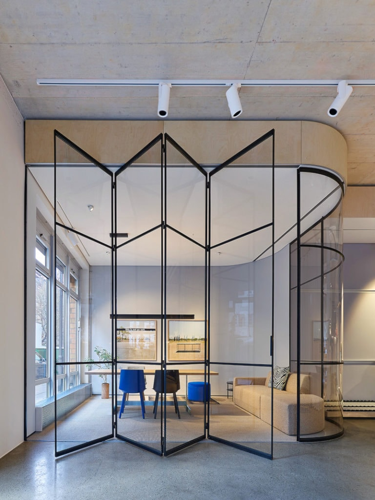 Glass Office Partition with folding doors