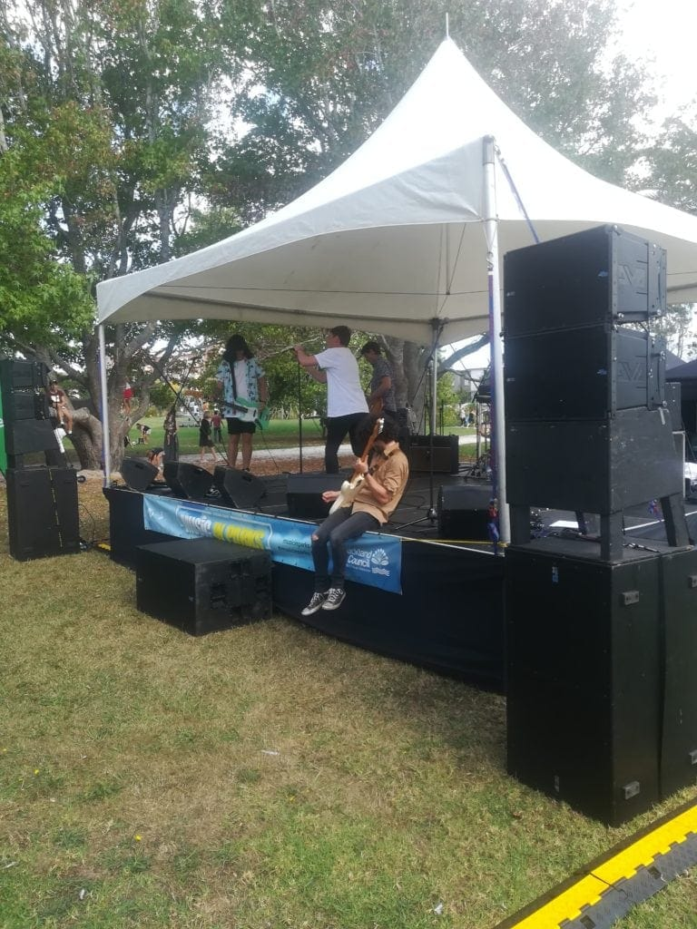 Music in Parks - Basic Line Array setup, Pa hire, sound system hire, covered stage hire