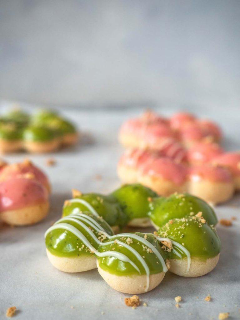 Strawberry and Matcha Baked Mochi Donuts