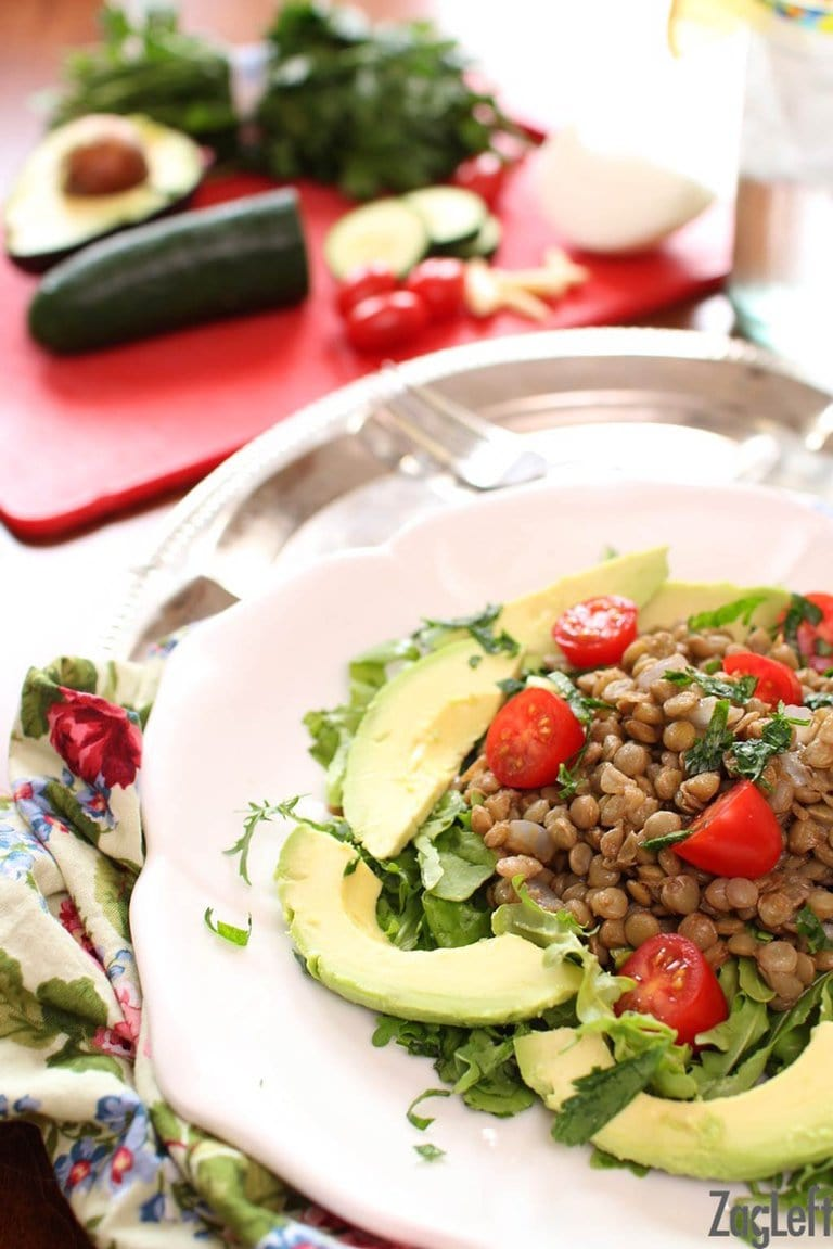 Lentil Salad with Avocados | One Dish Kitchen