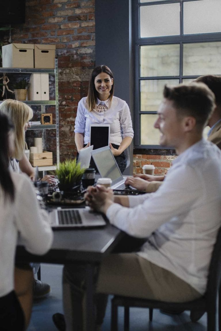 group of coworkers enjoying working together