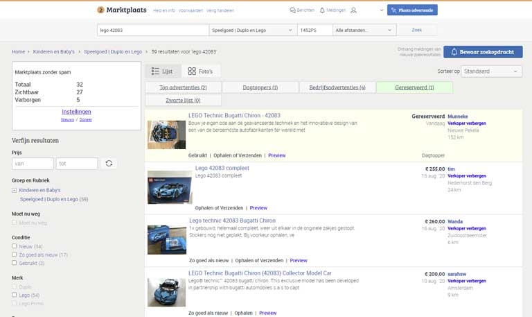 Marktplaats zonder advertenties - schermafbeelding.