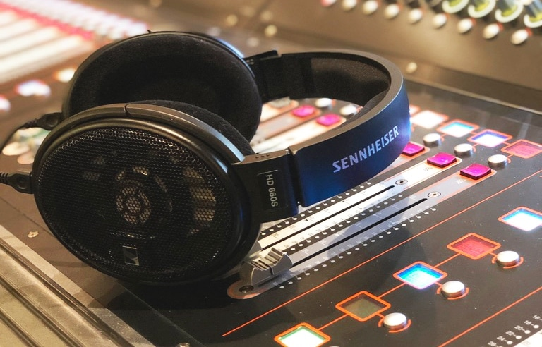 A paid of HD 660S on Recording Console