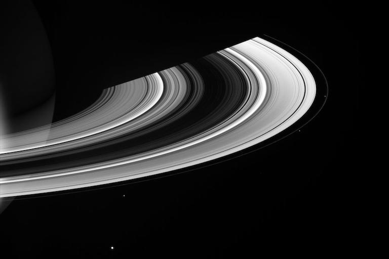 the unilluminated side of Saturn