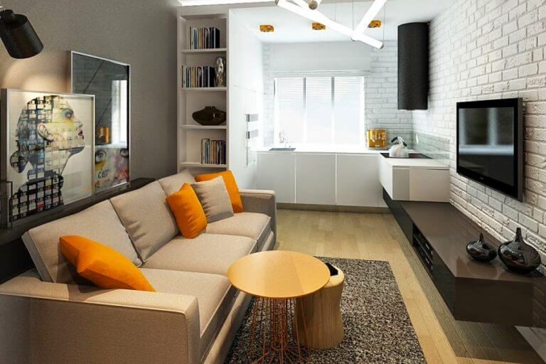 SMALL OPEN SPACE LIVING ROOM KITCHEN COMBO