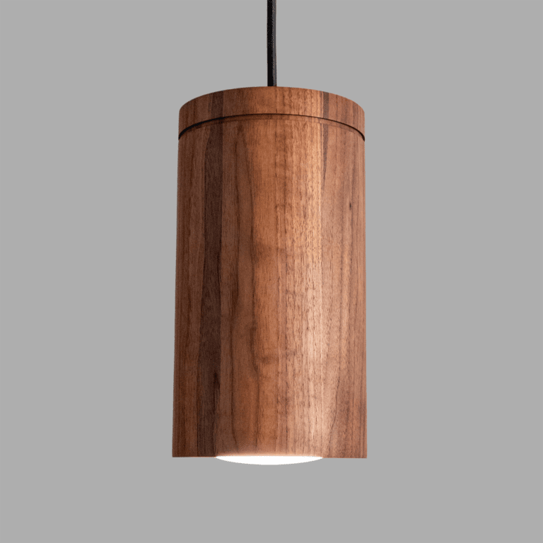 large wood cylinder pendant light - restaurant lighting - kitchen island light - modern home lighting - contemporary lighting