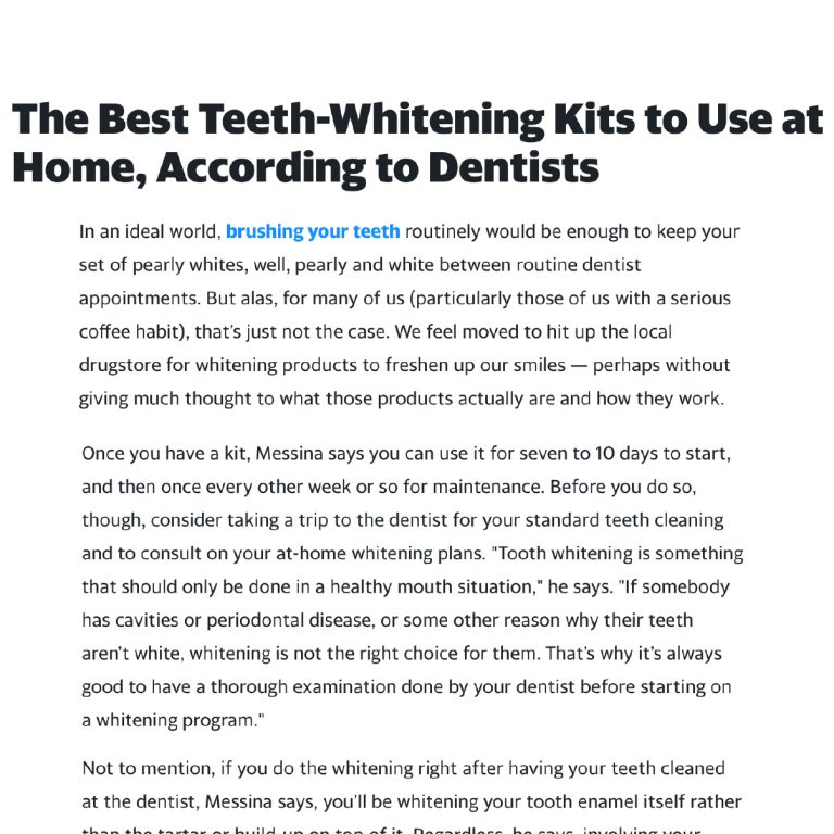 Link to a Yahoo! Life article about the Best Teeth Whitening Kits to use at Home